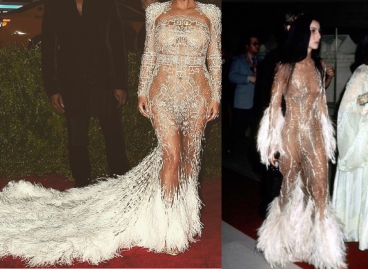 Kim Kardashian in custom Roberto Cavalli inspired by Cher's gown at the very 1st Met Gala